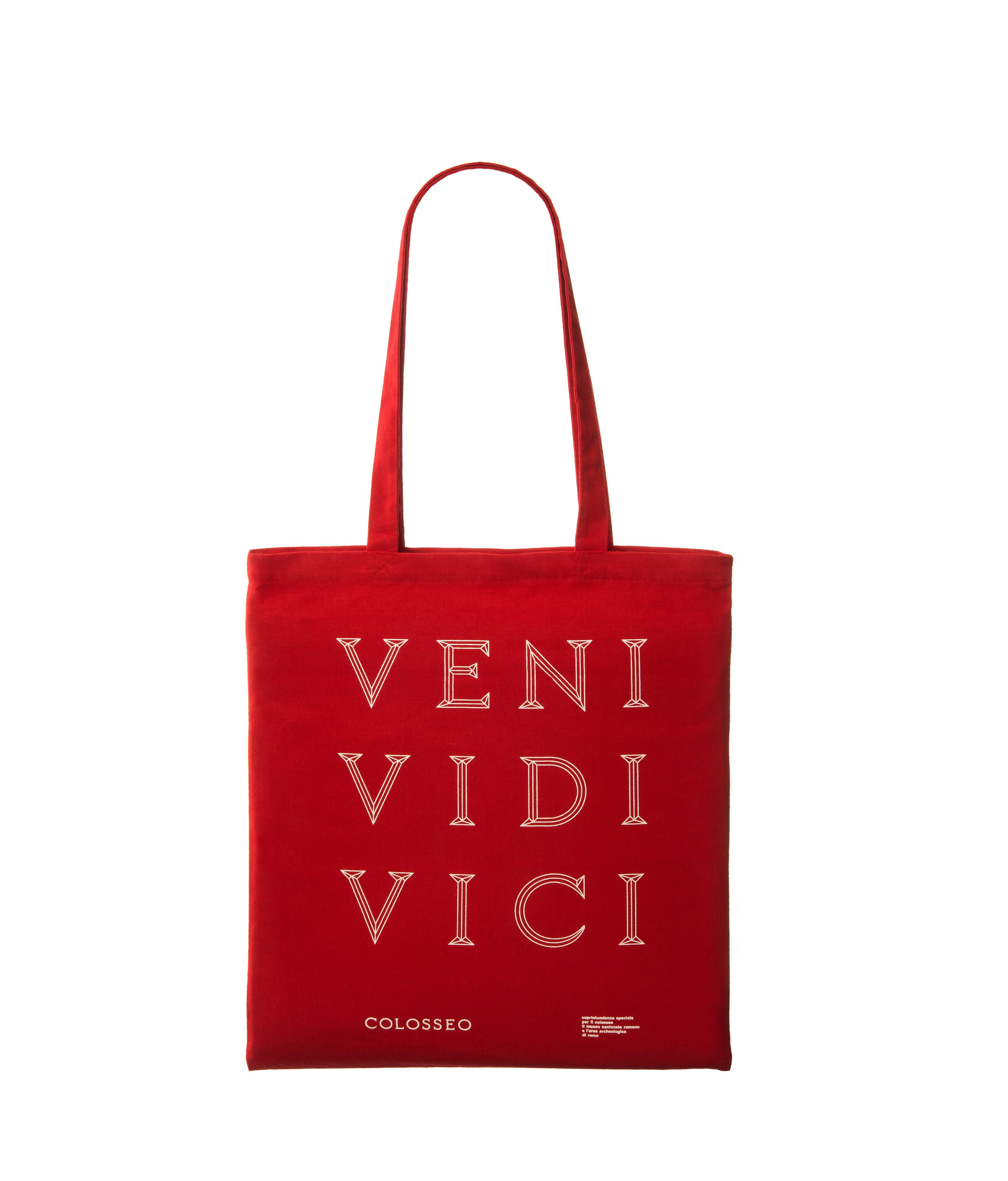 """shopper rosso """"veni vidi vici"""" serie colosseo"""