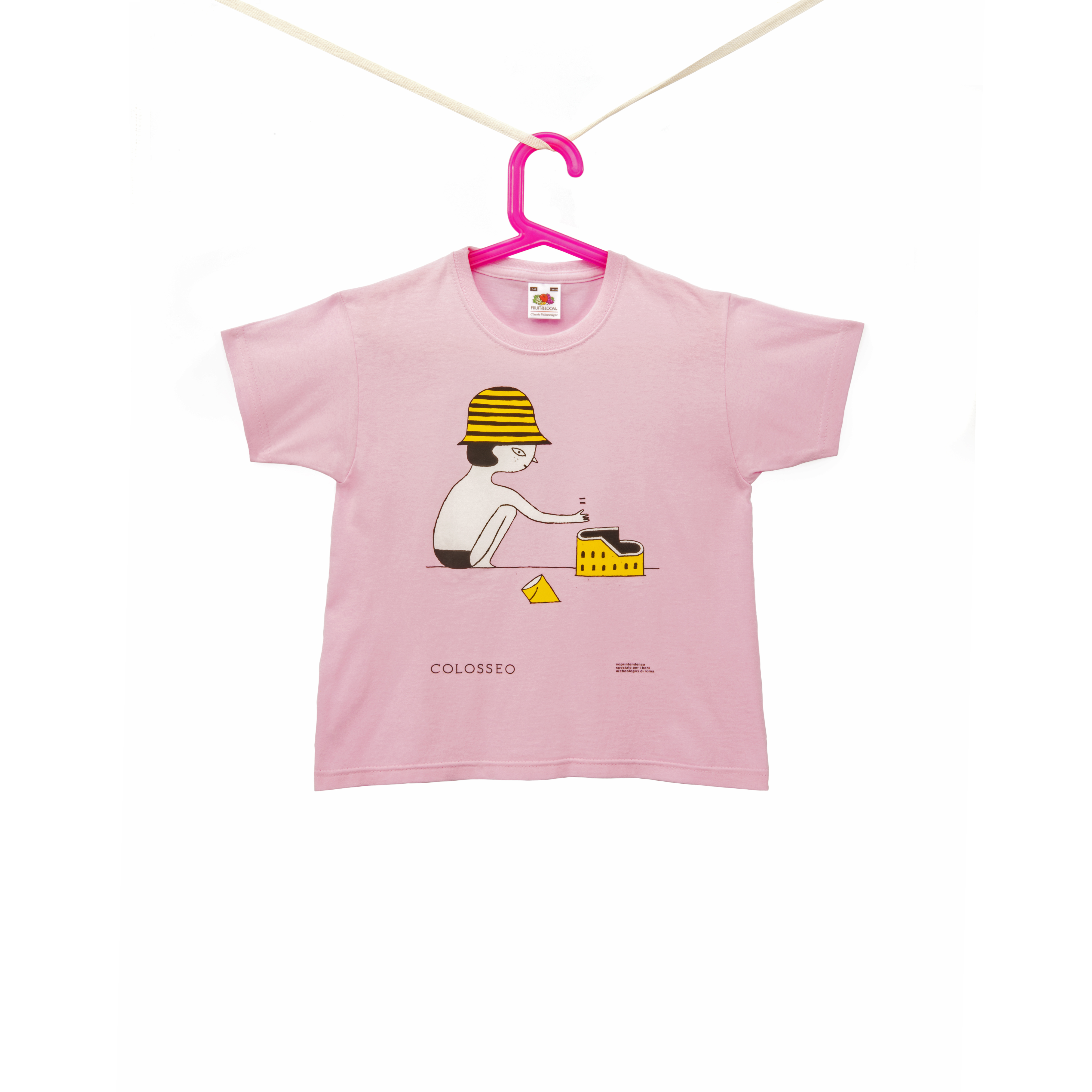 "t-shirt bimba rosa ""spiaggia"" serie colosseo"