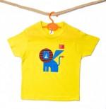 "t-shirt M giallo ""Leone blu"" linea kids serie la Biennale di Venezia"