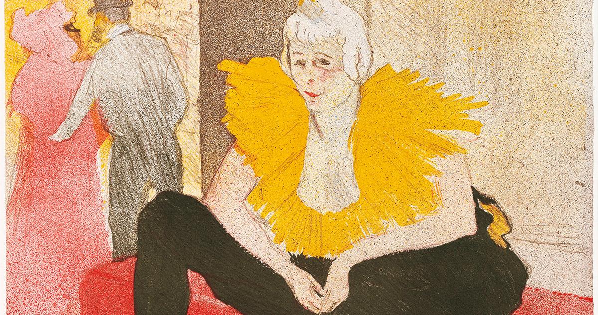 Henri de Toulouse-Lautrec, <em>La clownesse assise</em>, Mademoiselle Cha-U-Kao, 1896, litografia a colori, Bnf, Parigi