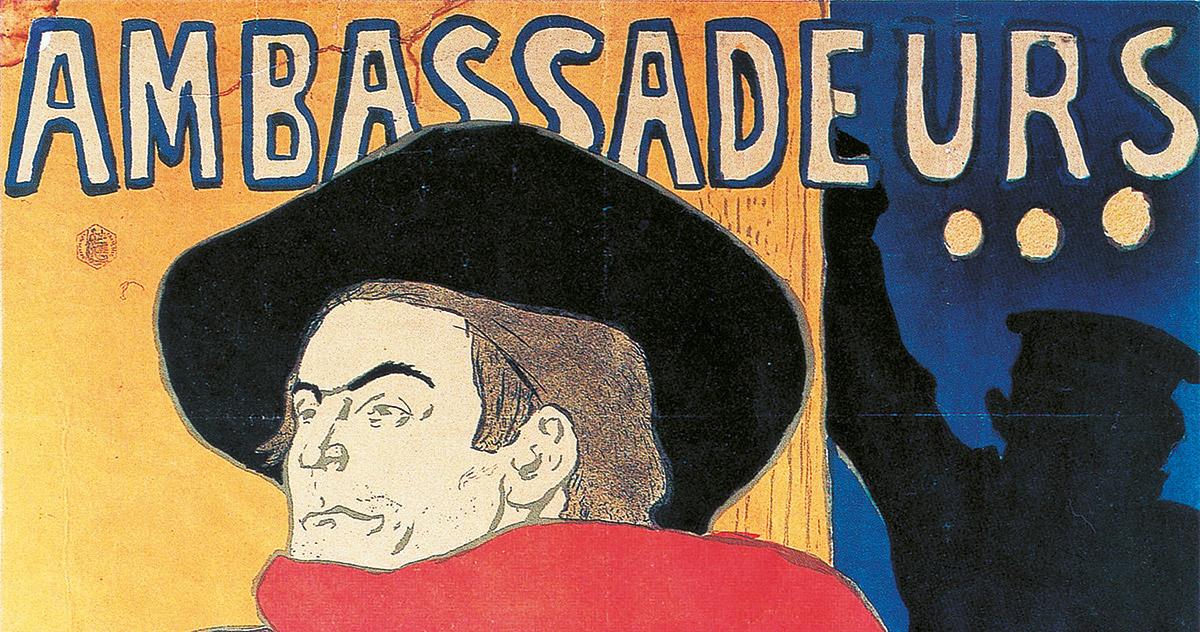 Henri de Toulouse-Lautrec, <em>Ambassadeurs, Aristide Bruant</em>, 1892, Affiche, litografia a pennello e a spruzzo in quattro colori, Collezione privata