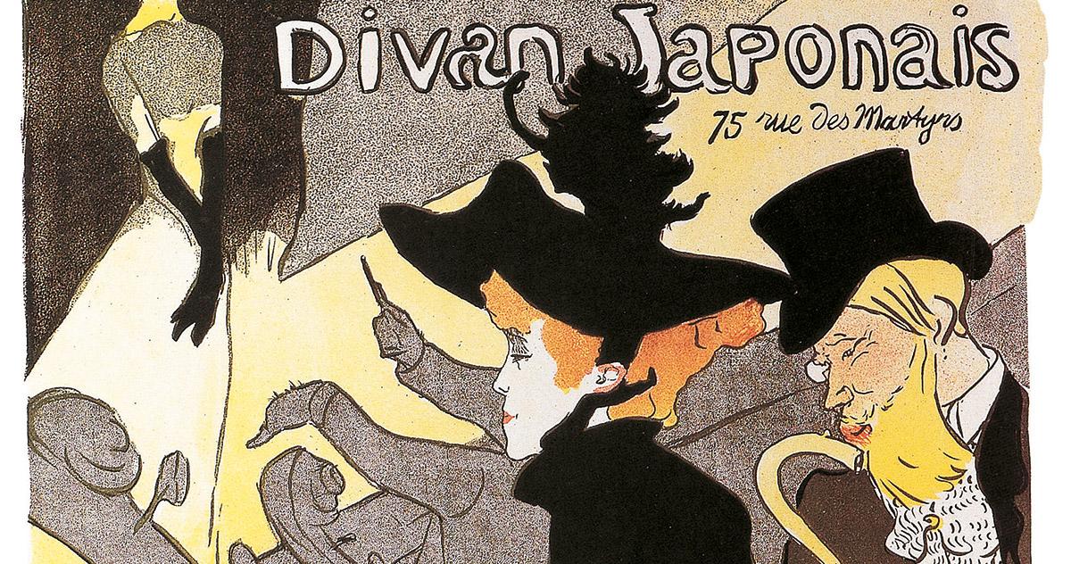 Henri de Toulouse-Lautrec, <em>Divan Japonais</em>, Affiche, litografia a gessetto, pennello e spruzzo con trama a riporto, in quattro colori, Collezione privata