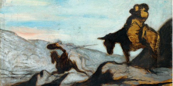 Don Quixote and Sancho Panza, ca 1855. Artist: Daumier, HonorA© (1808-1879)