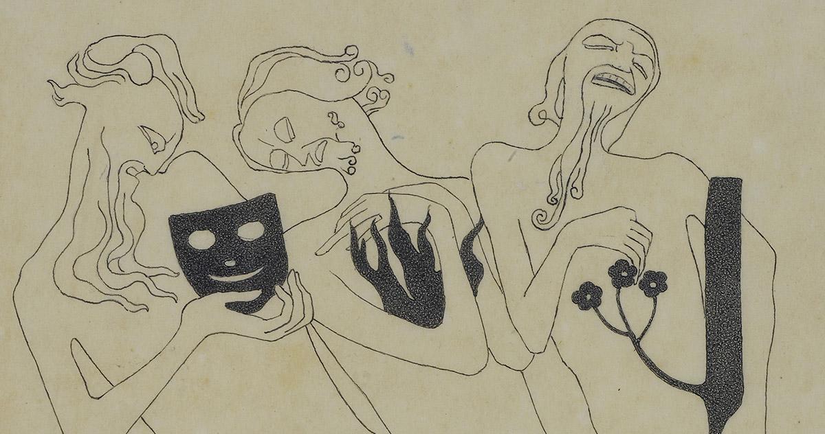 Detail by Adolf Wildt, <em>Tre figure</em>, 1916, pencil, pen and Indian ink on paper 288 x 220 mm Castello Sforzesco-Civico Gabinetto dei Disegni, Milan. Photo Saporetti Immagini d'Arte, Milan