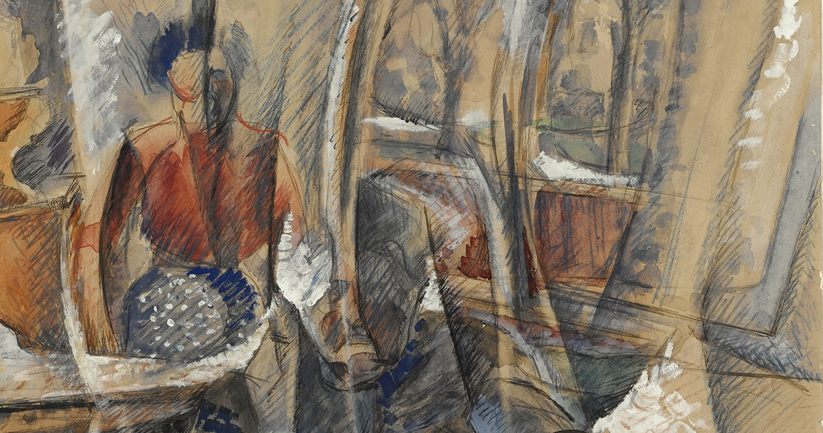 Detail by Umberto Boccioni, <em>Interno con due figure femminili</em>, 1916, graphite, pencil, black ink, coloured pencils, watercolour and white tempera on paper, 654 x 475 mm Castello Sforzesco-Civico Gabinetto dei Disegni, Milan. Photo Annette Keller
