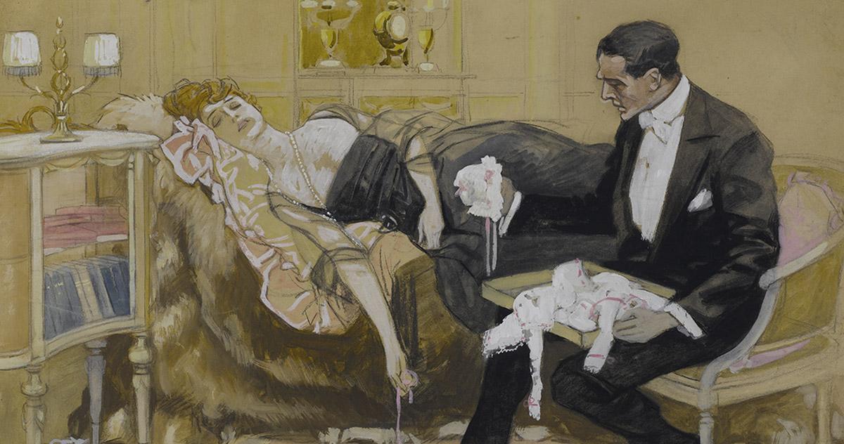 Detail by Marcello Dudovich, <em>Il corredo del bambino</em>, 1915-1918, pastel and tempera on paper, 691 x 688 mm Castello Sforzesco-Civico Gabinetto dei Disegni, Milan. Photo Saporetti Immagini d'Arte, Milan