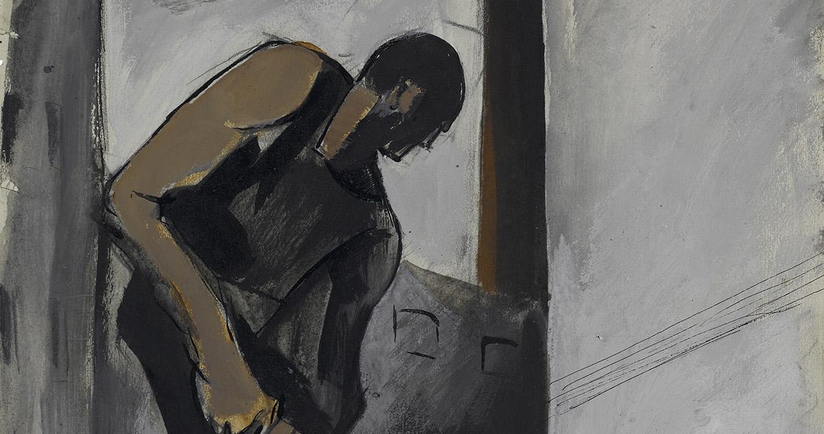 Detail by Mario Sironi, <em>Allegoria dell'espansione urbanistica</em>, c. 1921, graphite pencil, Indian ink, tempera on paper, 407 x 327 mm Castello Sforzesco-Civico Gabinetto dei Disegni, Milan. Photo Saporetti Immagini d'Arte, Milan