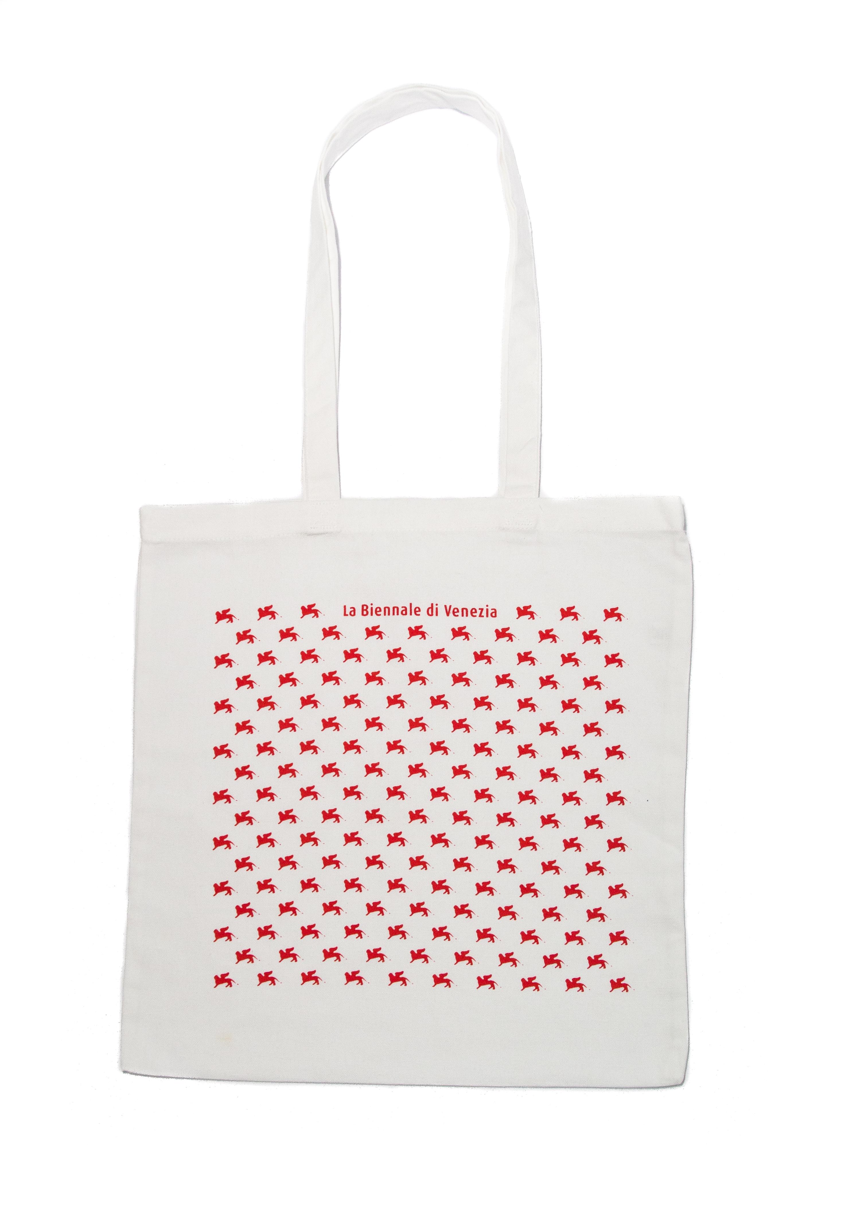 """shopper bianca """"pattern"""" rosso serie la Biennale di Venezia"""