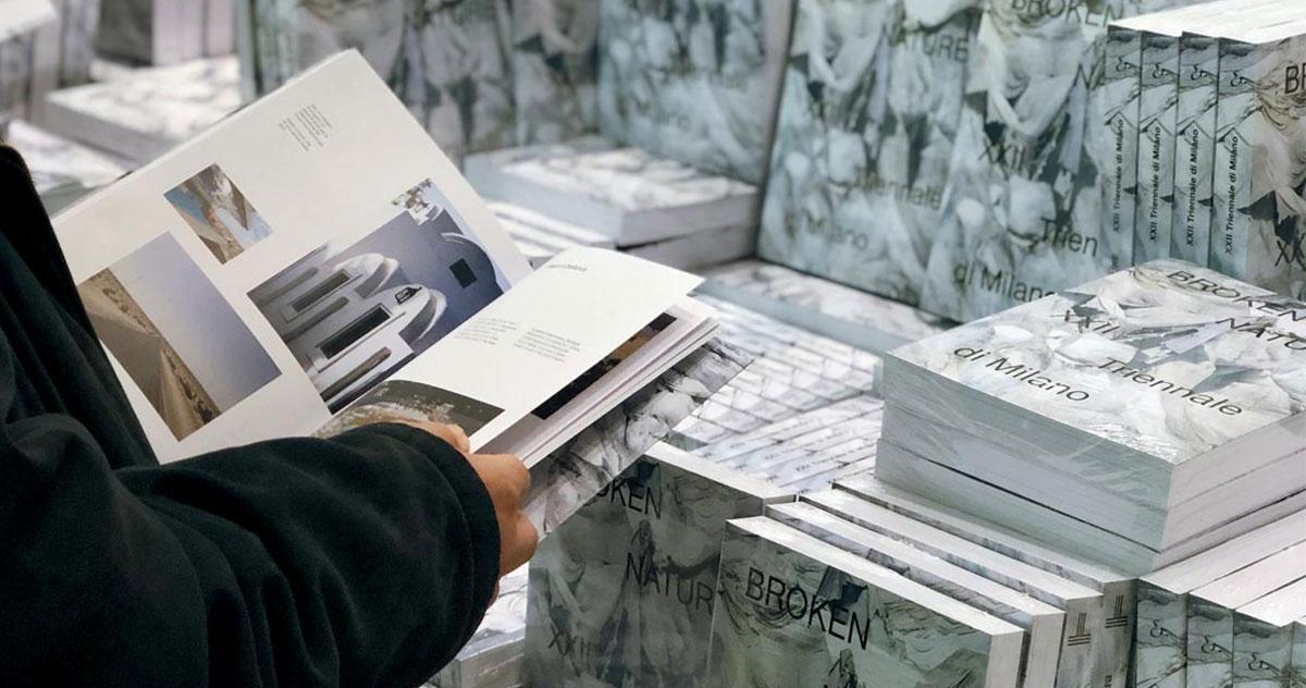 Il catalogo della mostra <i>Broken Nature</i> al bookshop della Triennale di Milano