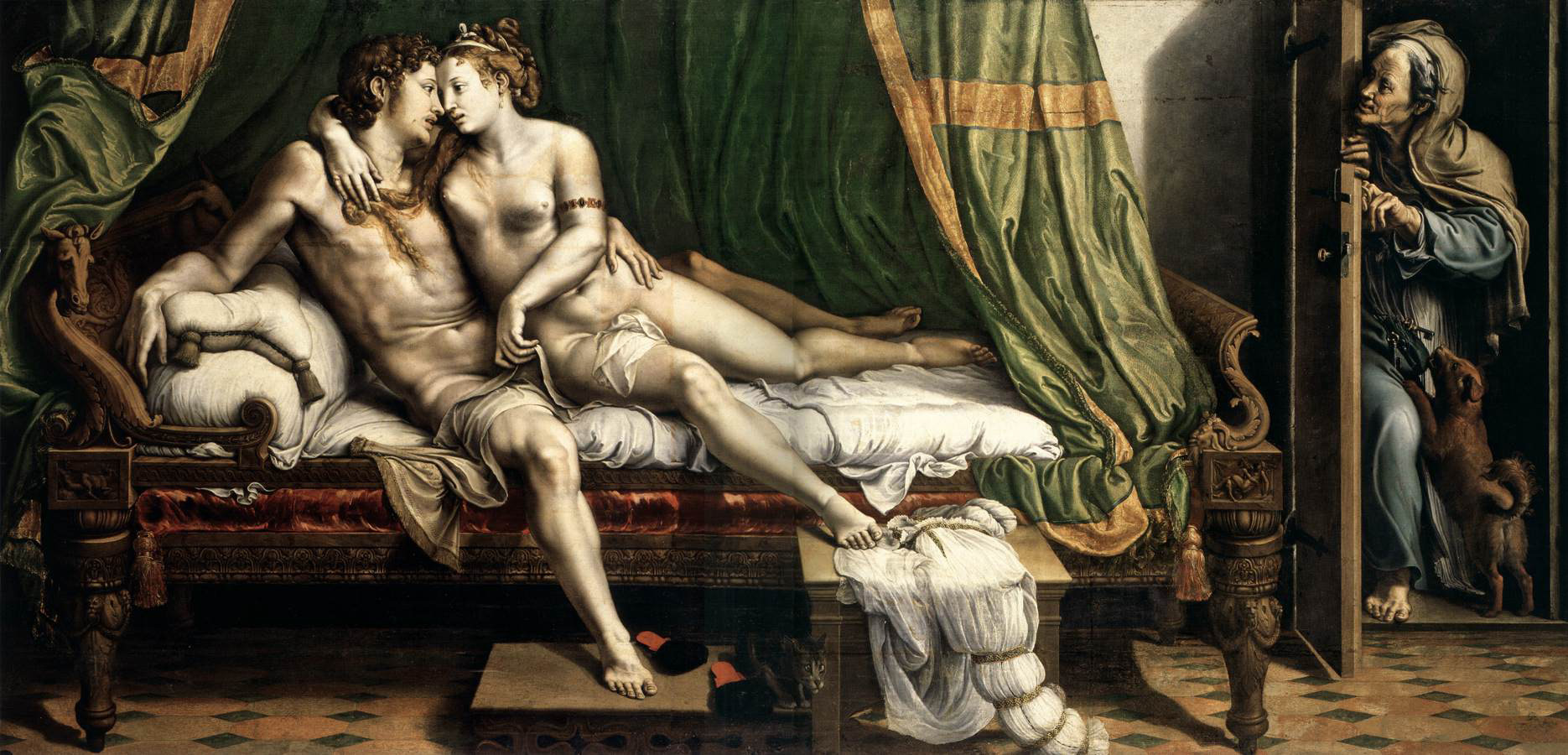 Giulio Romano, Due amanti, c. 1524, olio su tavola trasferito su tela, 1630 x 3370 mm. San Pietroburgo, The State Hermitage Museum