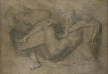 Rosso Fiorentino (attribuito) (da Michelangelo Buonarroti), Leda e il cigno, 1530-1540 (?), disegno a carboncino, 1745 x 2538 mm. Londra, Royal Academy of Arts