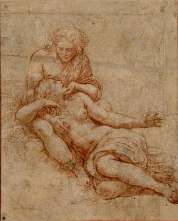 Giulio Romano, Venere e Adone, 1516 disegno a sanguigna, 224 x 181 mm. Vienna, Albertina