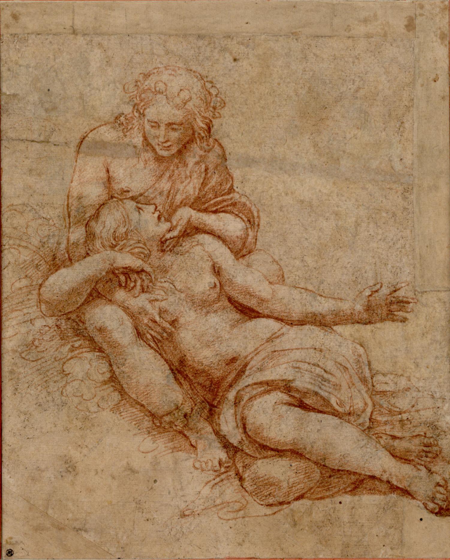 Giulio Romano, Venere e Adone, 1516, disegno a sanguigna. Vienna, Albertina