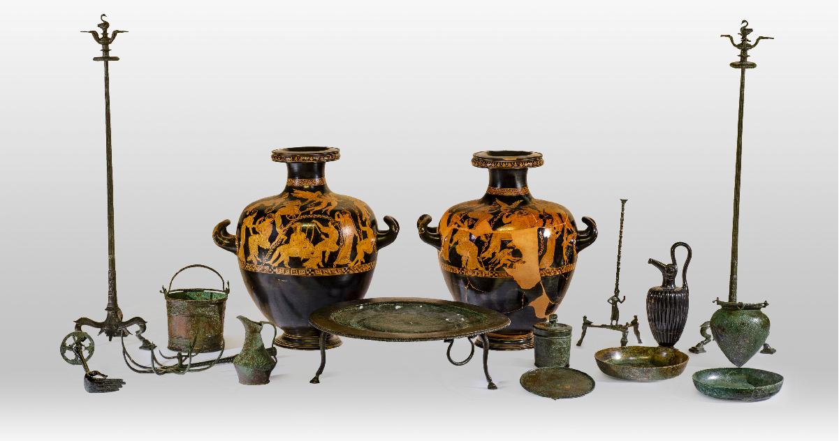 Corredo della tomba delle hydriae di Meidias. Prima metà V sec. a.C., Museo Archeologico Nazionale, Polo Museale della Toscana