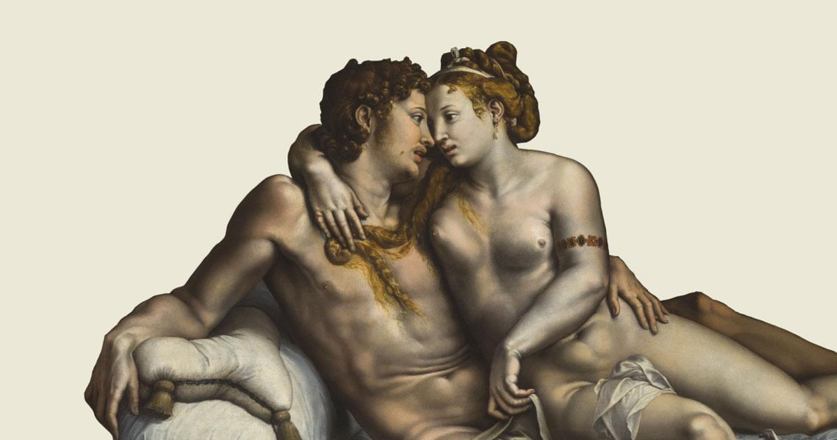 Giulio Romano, <i>Due amanti</i>, c. 1524, olio su tavola trasferito su tela, San Pietroburgo, The State Hermitage Museum. Photograph © The State Hermitage Museum, 2019. Photo Inna Regentova