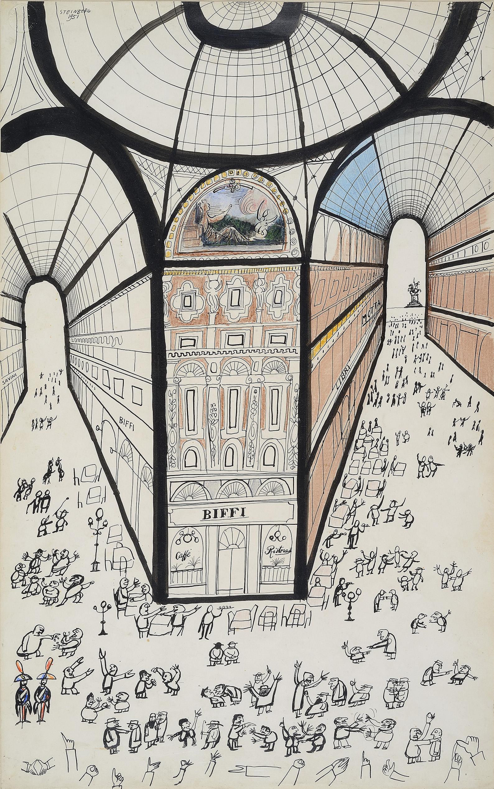 Saul Steinberg, Galleria di Milano, 1951 Inchiostro, matita grassa e acquerello su carta Collezione privata © The Saul Steinberg Foundation/Artists Rights Society (ARS) New York